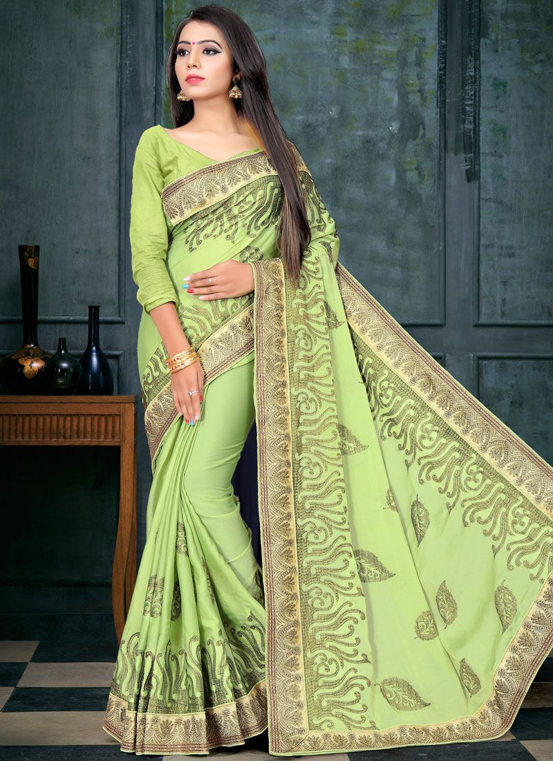 Green Patch Border Fancy Fabric Designer Traditional Saree