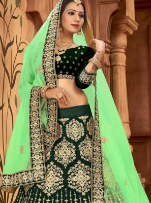 Green Patch Border Lehenga Choli