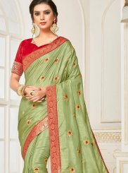 Green Patch Border Poly Silk Designer Traditional Saree