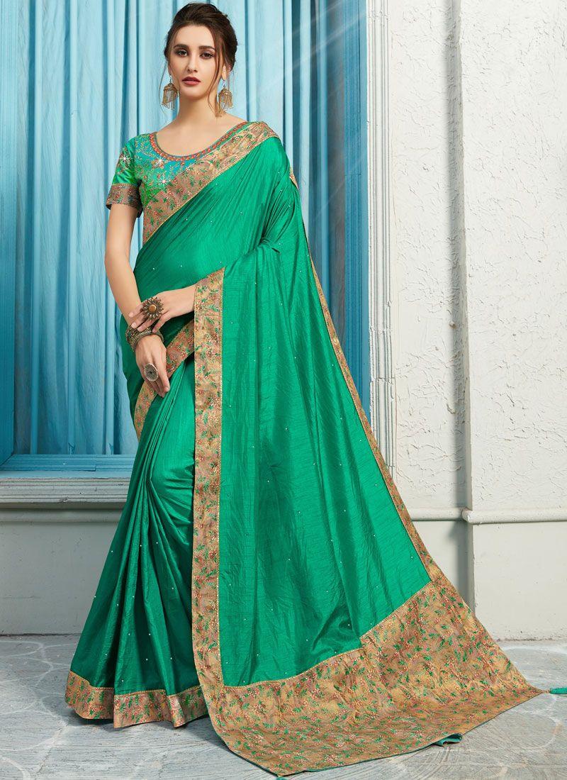 Green Patch Border Poly Silk Traditional Designer Saree