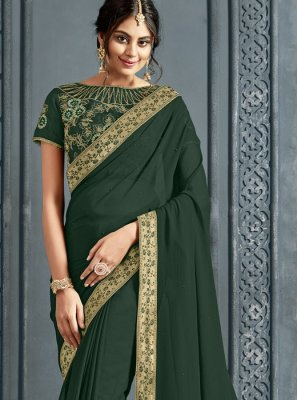 Green Patch Border Sangeet Classic Saree