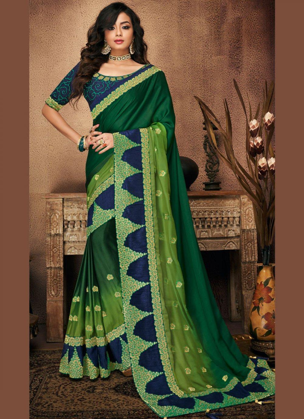 Green Patch Border Traditional Designer Saree