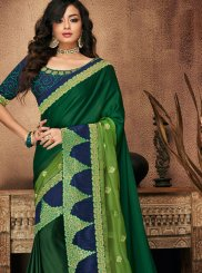 Green Patch Border Traditional Designer Saree