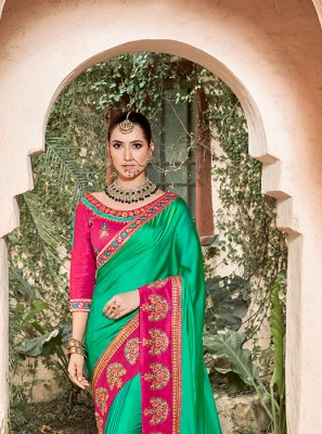 Green Patch Border Traditional Saree