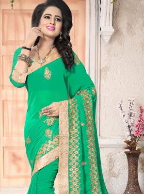 Green Patch Border Work Faux Georgette Saree