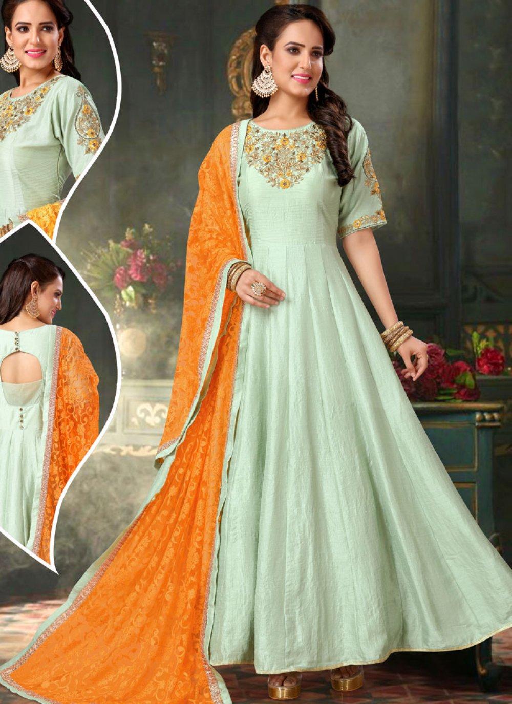 Green Patchwork Anarkali Salwar Kameez