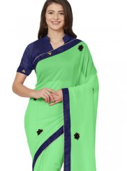 Green Patchwork Casual Saree