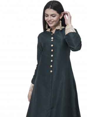 Green Plain Casual Kurti