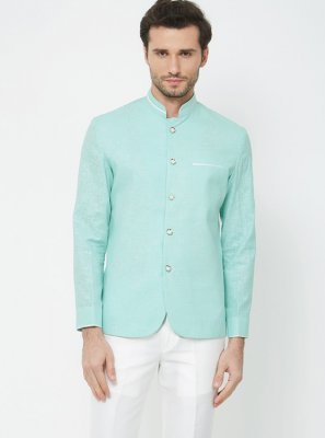 Green Plain Coats & Blazers