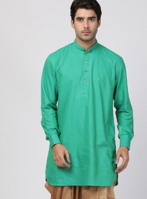 Green Plain Dhoti Kurta