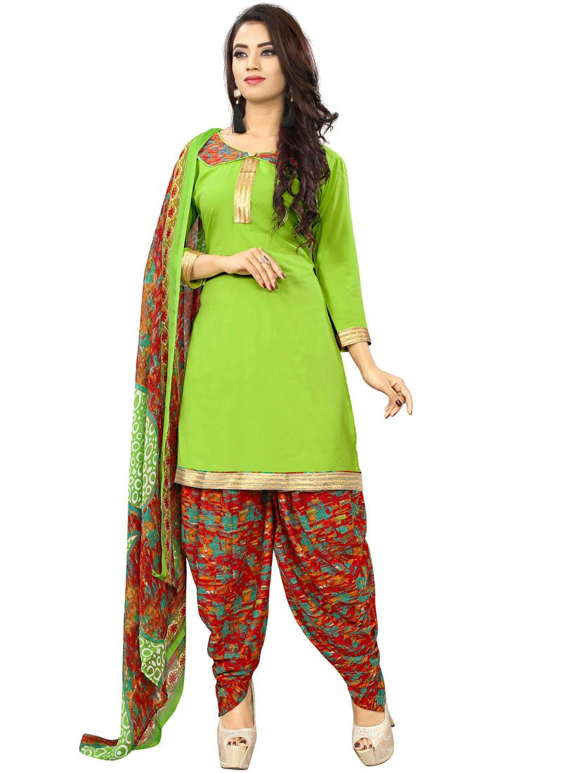 Green Poly Cotton Punjabi Suit