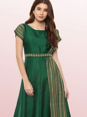 Green Poly Silk Party Wear Kurti