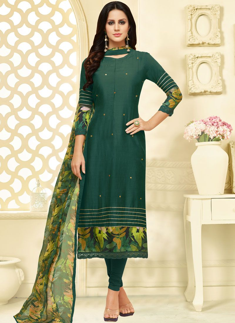 Green Print Chanderi Cotton Churidar Suit