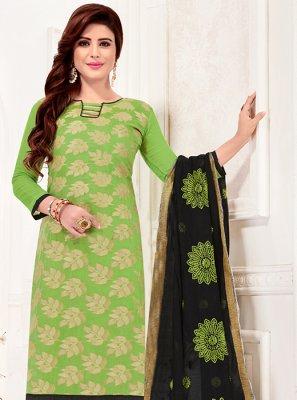 Green Print Churidar Suit