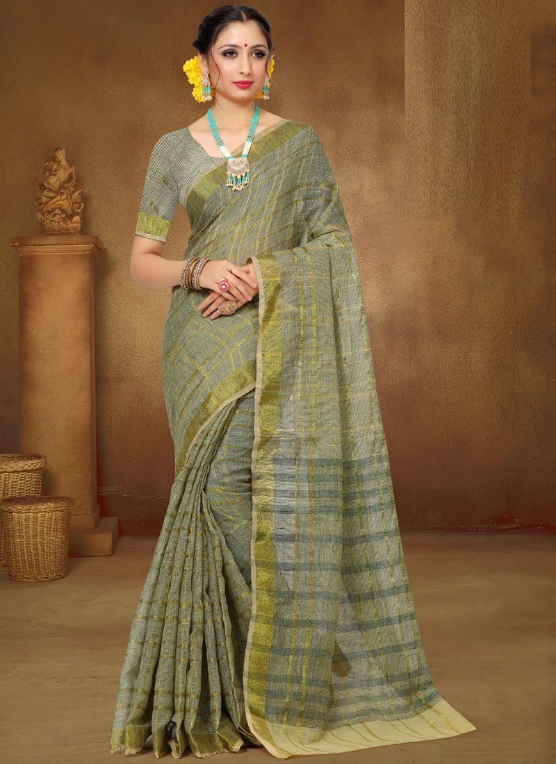 Green Print Classic Saree
