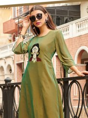 Green Print Party Wear Kurti