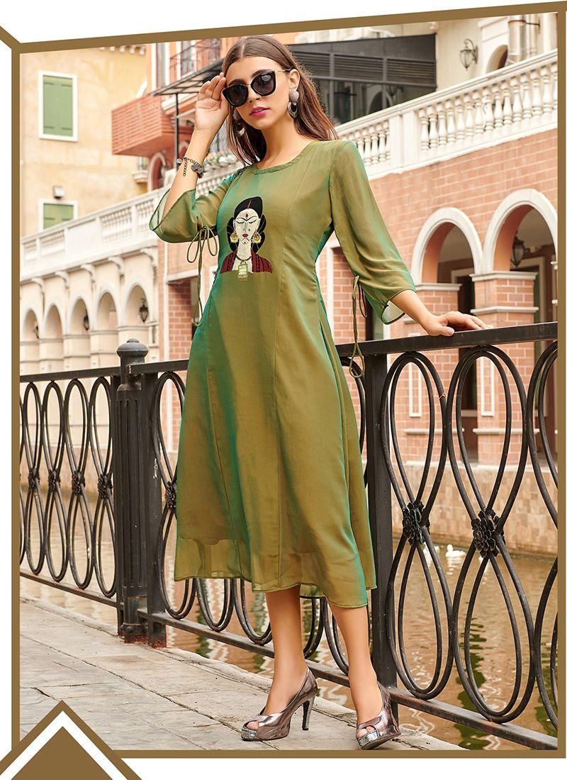 Green Print Party Wear Kurti