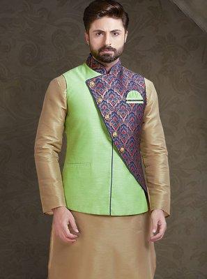 Green Printed Art Silk Nehru Jackets