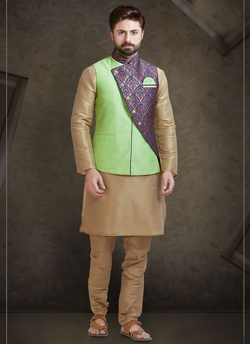 Green Printed Art Silk Nehru Jackets