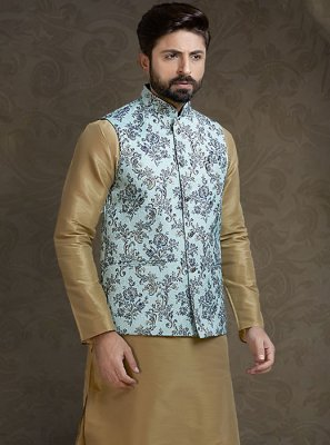 Green Printed Brocade Nehru Jackets