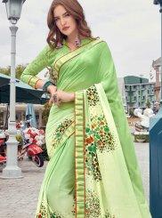 Green Printed Casual Casual Saree