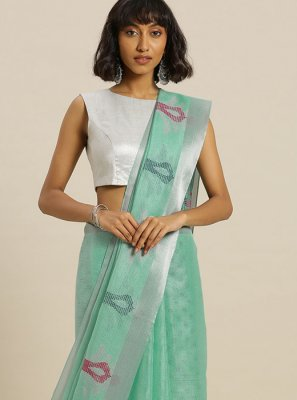 Green Printed Casual Saree