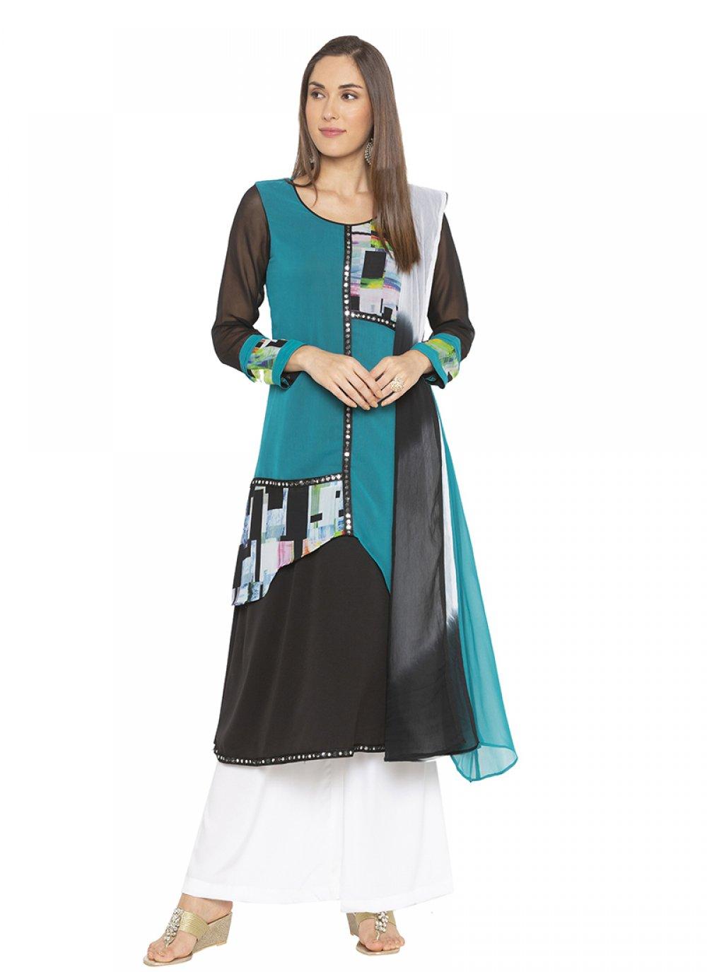 Multicolour Printed Ceremonial Designer Salwar Kameez