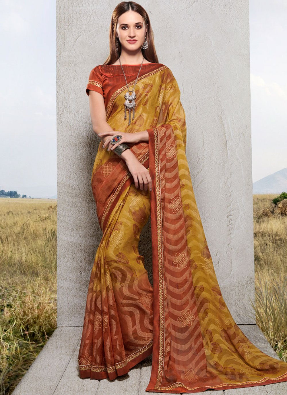 Green Printed Faux Chiffon Trendy Saree