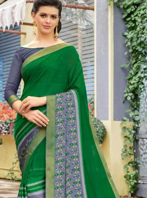 Green Printed Faux Georgette Trendy Saree