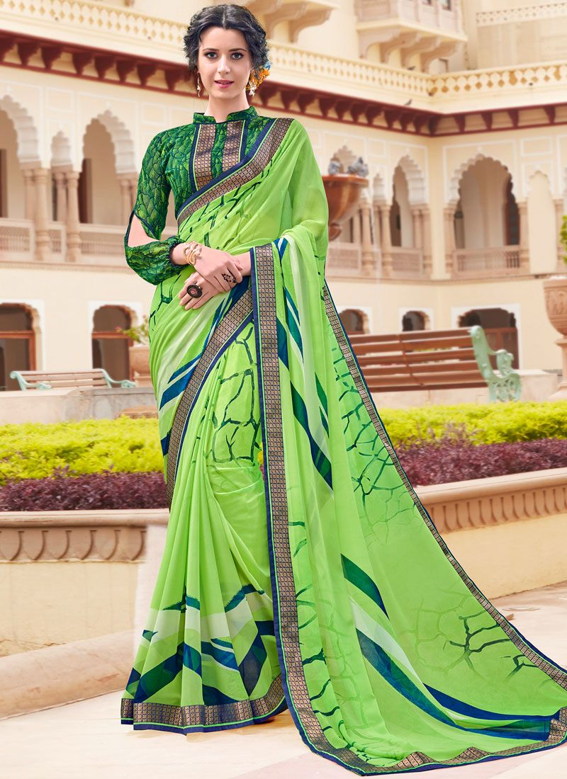 Green Printed Festival Casual Saree