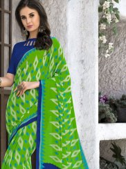 Green Printed Georgette Casual Saree
