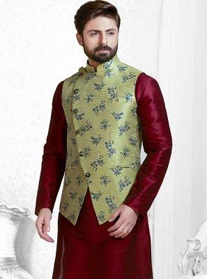 Green Printed Jacquard Nehru Jackets