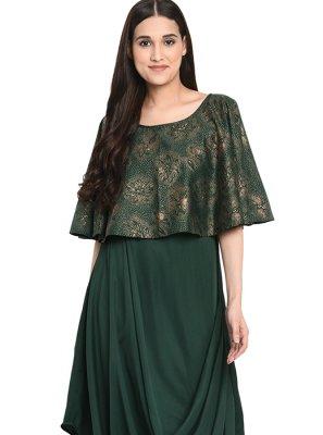 Green Printed Party Wear Kurti