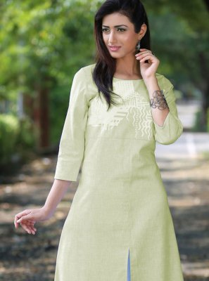 Green Printed Poly Cotton Casual Kurti
