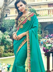 Green Rangoli Stone Work Designer Saree