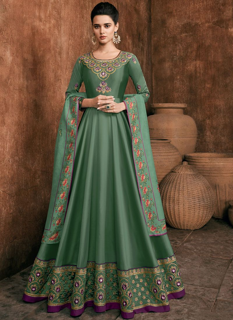 Green Rayon Anarkali Suit