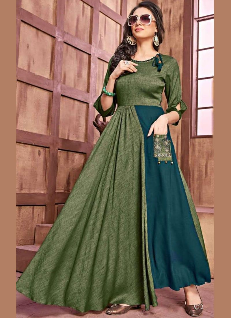 Green Rayon Embroidered Party Wear Kurti