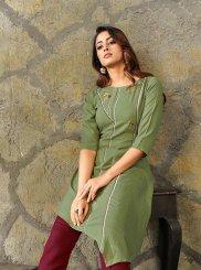 Green Rayon Thread Work Party Wear Kurti