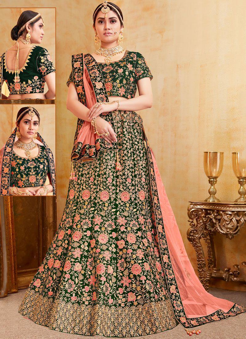 Green Reception Designer Lehenga Choli