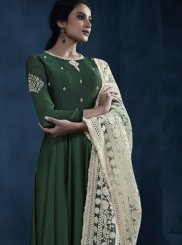 Green Reception Faux Georgette Floor Length Anarkali Suit