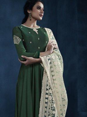 Green Reception Faux Georgette Floor Length Anarkali Suit