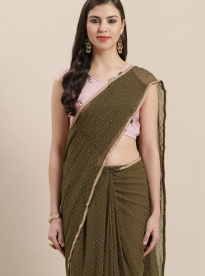 Green Reception Faux Georgette Trendy Saree