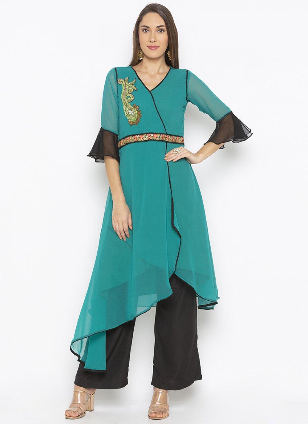 Green Reception Georgette Designer Kurti