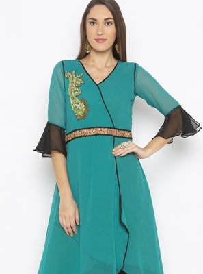 Green Reception Georgette Designer Kurti