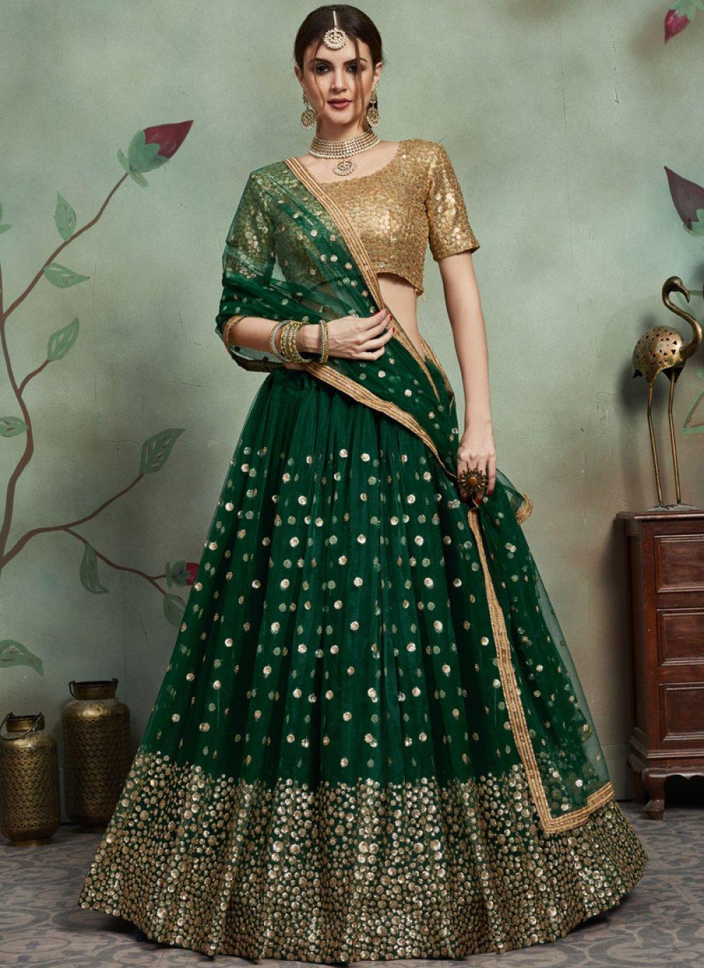 Green Reception Net Trendy Lehenga Choli