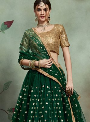 Green Reception Net Trendy Lehenga Choli