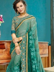 Green Resham Cotton Silk Shaded Saree