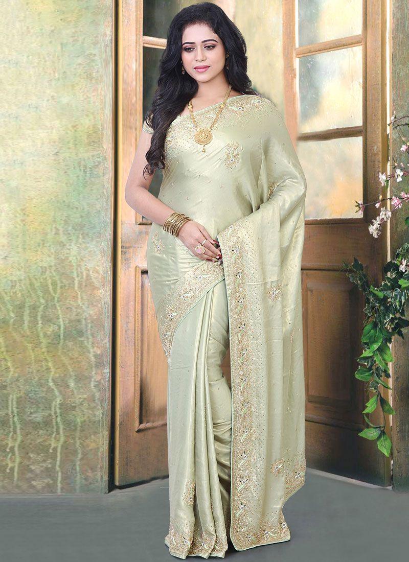 Green Resham Designer Traditional Saree