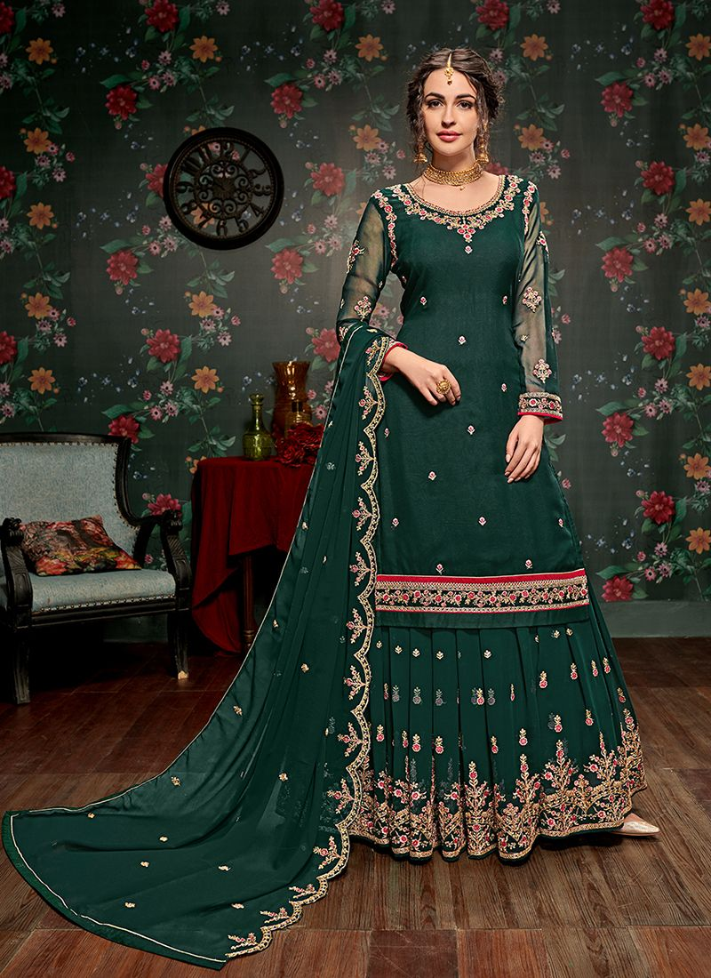 Green Resham Faux Georgette Long Choli Lehenga