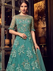 Green Resham Floor Length Anarkali Suit